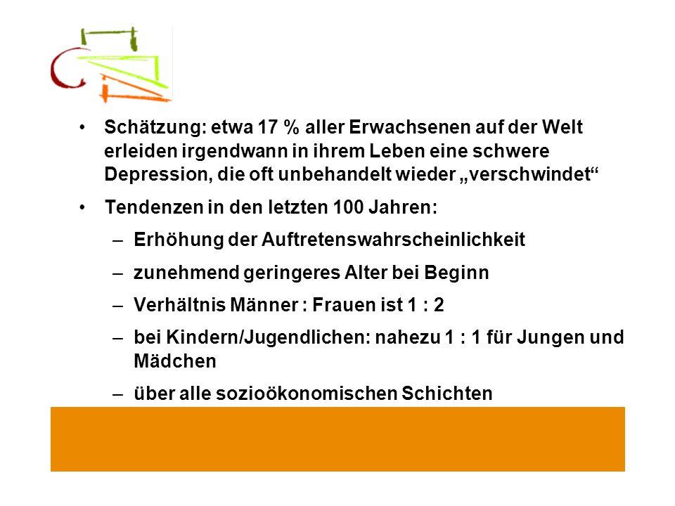 """Schätzung: etwa 17 % aller Erwachsenen auf der Welt erleiden irgendwann in ihrem Leben eine schwere Depression, die oft unbehandelt wieder """"verschwindet"""