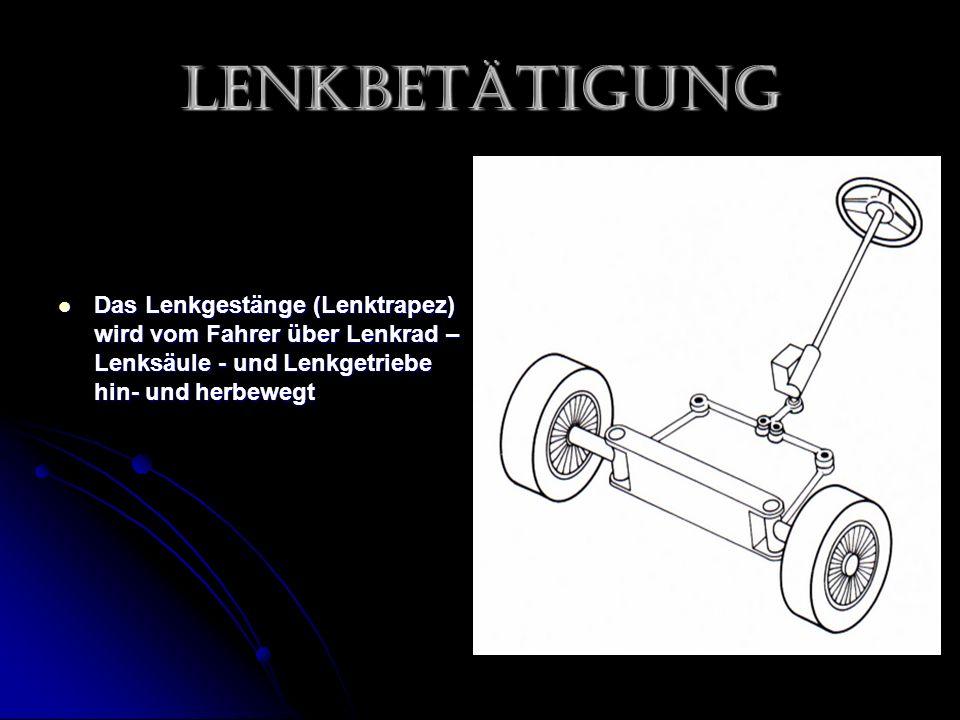 Lenkbetätigung Das Lenkgestänge (Lenktrapez) wird vom Fahrer über Lenkrad – Lenksäule - und Lenkgetriebe hin- und herbewegt.