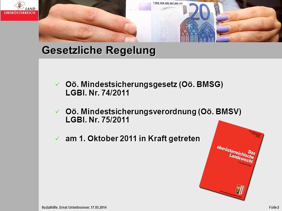 Gesetzliche Regelung Oö. Mindestsicherungsgesetz (Oö. BMSG) LGBl. Nr. 74/2011. Oö. Mindestsicherungsverordnung (Oö. BMSV) LGBl. Nr. 75/2011.