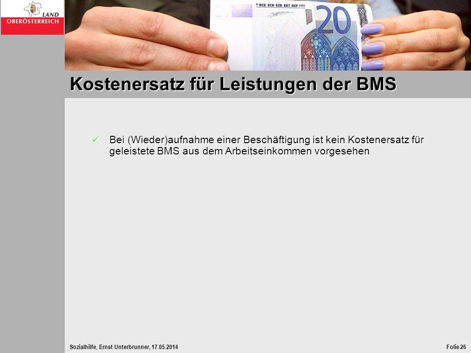 Kostenersatz für Leistungen der BMS