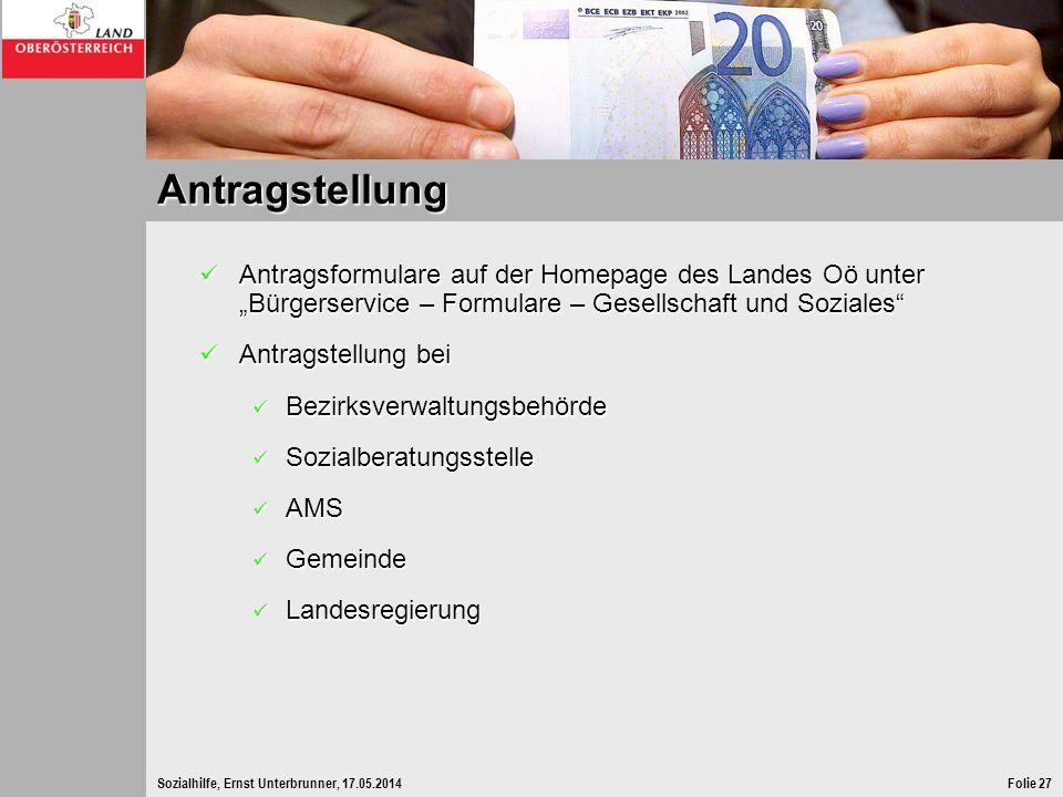 """Antragstellung Antragsformulare auf der Homepage des Landes Oö unter """"Bürgerservice – Formulare – Gesellschaft und Soziales"""