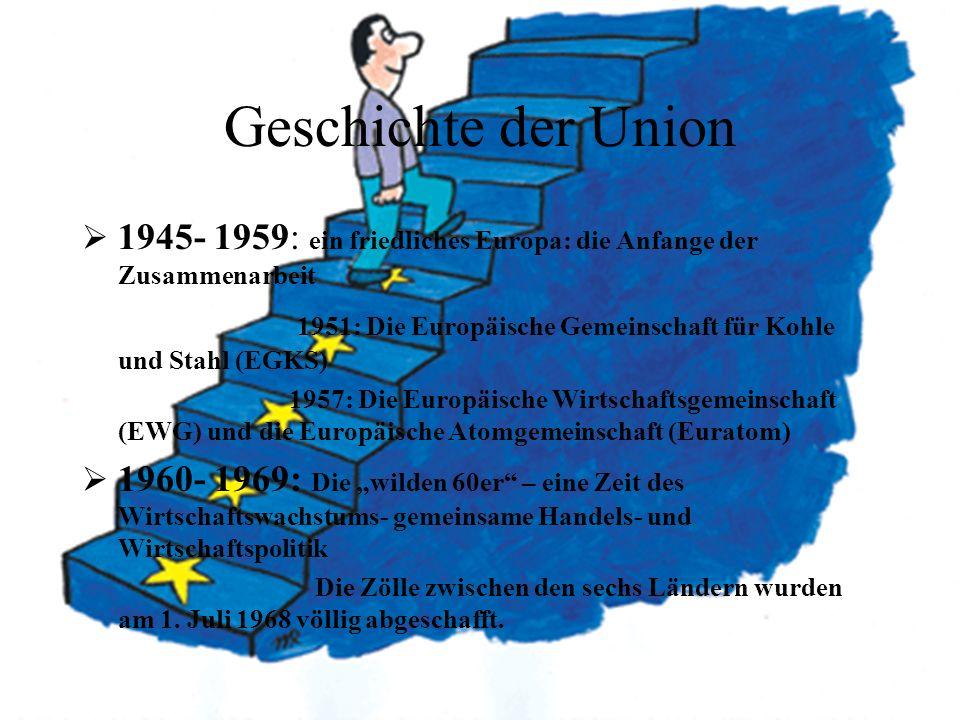 Geschichte der Union 1945- 1959: ein friedliches Europa: die Anfange der Zusammenarbeit.