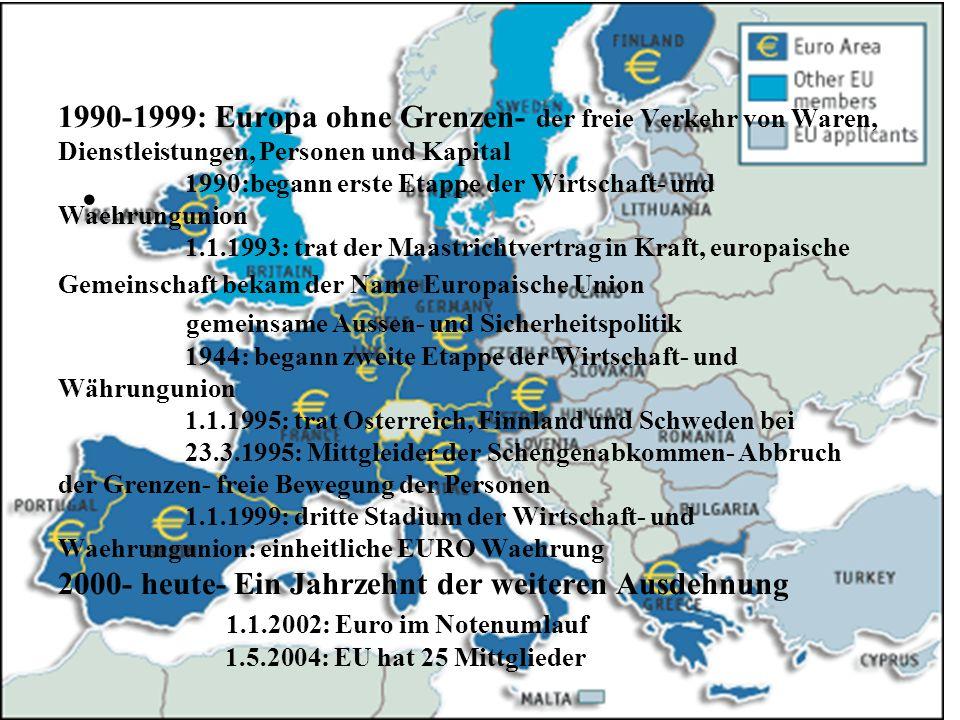 1990-1999: Europa ohne Grenzen- der freie Verkehr von Waren, Dienstleistungen, Personen und Kapital 1990:begann erste Etappe der Wirtschaft- und Waehrungunion 1.1.1993: trat der Maastrichtvertrag in Kraft, europaische Gemeinschaft bekam der Name Europaische Union gemeinsame Aussen- und Sicherheitspolitik 1944: begann zweite Etappe der Wirtschaft- und Währungunion 1.1.1995: trat Osterreich, Finnland und Schweden bei 23.3.1995: Mittgleider der Schengenabkommen- Abbruch der Grenzen- freie Bewegung der Personen 1.1.1999: dritte Stadium der Wirtschaft- und Waehrungunion: einheitliche EURO Waehrung 2000- heute- Ein Jahrzehnt der weiteren Ausdehnung 1.1.2002: Euro im Notenumlauf 1.5.2004: EU hat 25 Mittglieder