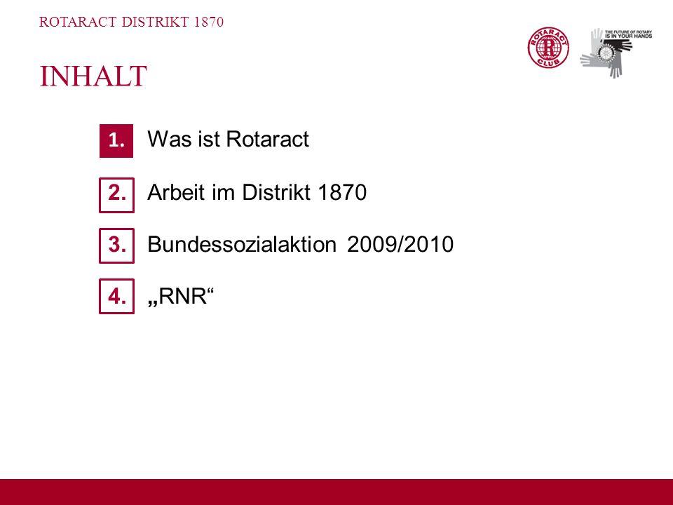 """INHALT 1. Was ist Rotaract 2. Arbeit im Distrikt 1870 3. Bundessozialaktion 2009/2010 4. """"RNR"""