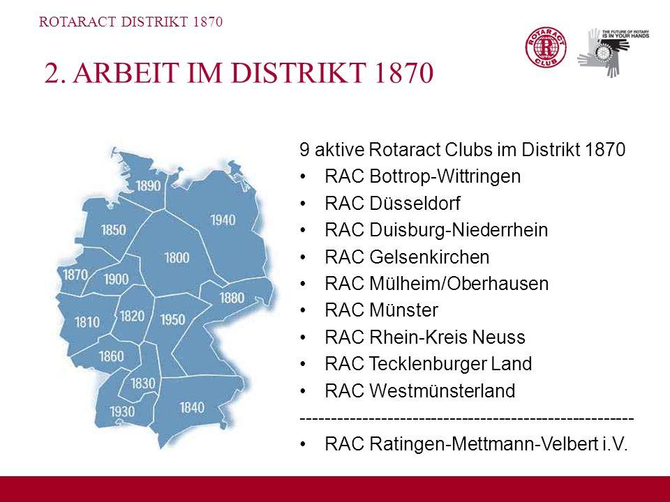 2. ARBEIT IM DISTRIKT 1870 9 aktive Rotaract Clubs im Distrikt 1870