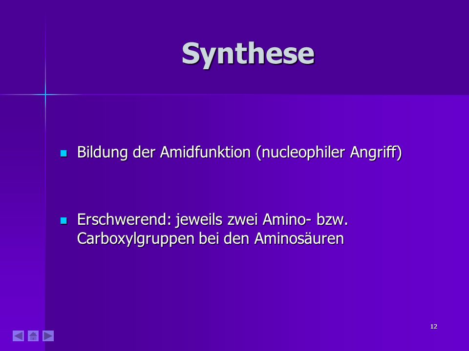 Synthese Bildung der Amidfunktion (nucleophiler Angriff)