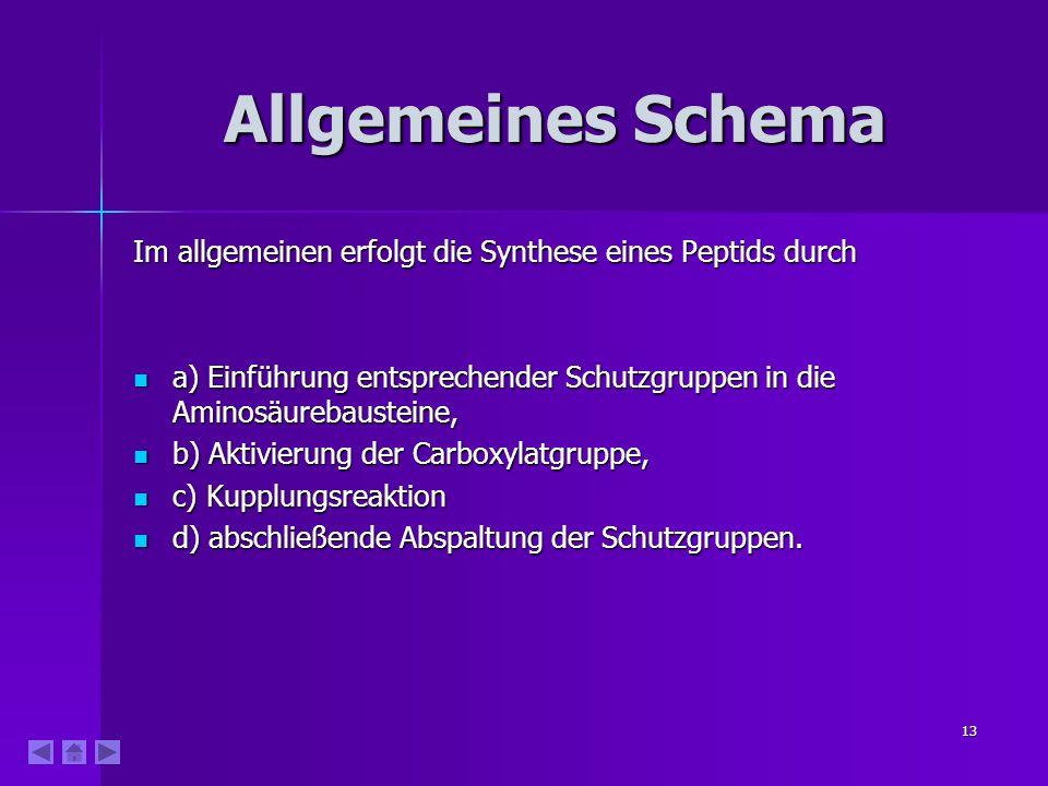 Allgemeines Schema Im allgemeinen erfolgt die Synthese eines Peptids durch. a) Einführung entsprechender Schutzgruppen in die Aminosäurebausteine,