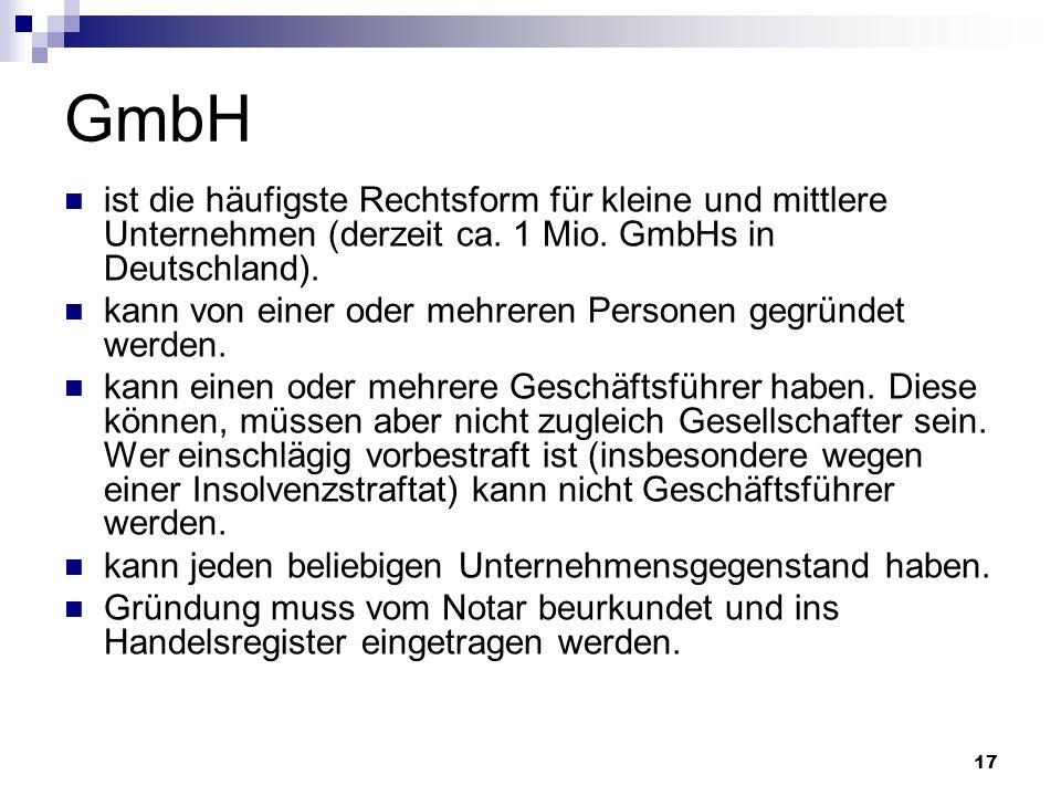 GmbH ist die häufigste Rechtsform für kleine und mittlere Unternehmen (derzeit ca. 1 Mio. GmbHs in Deutschland).