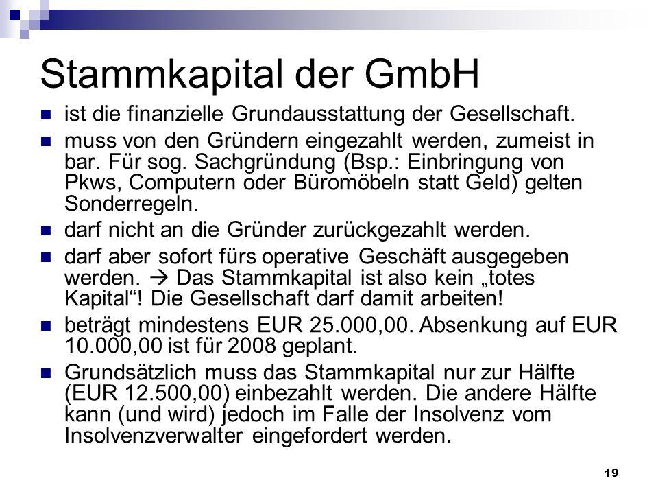 Stammkapital der GmbH ist die finanzielle Grundausstattung der Gesellschaft.