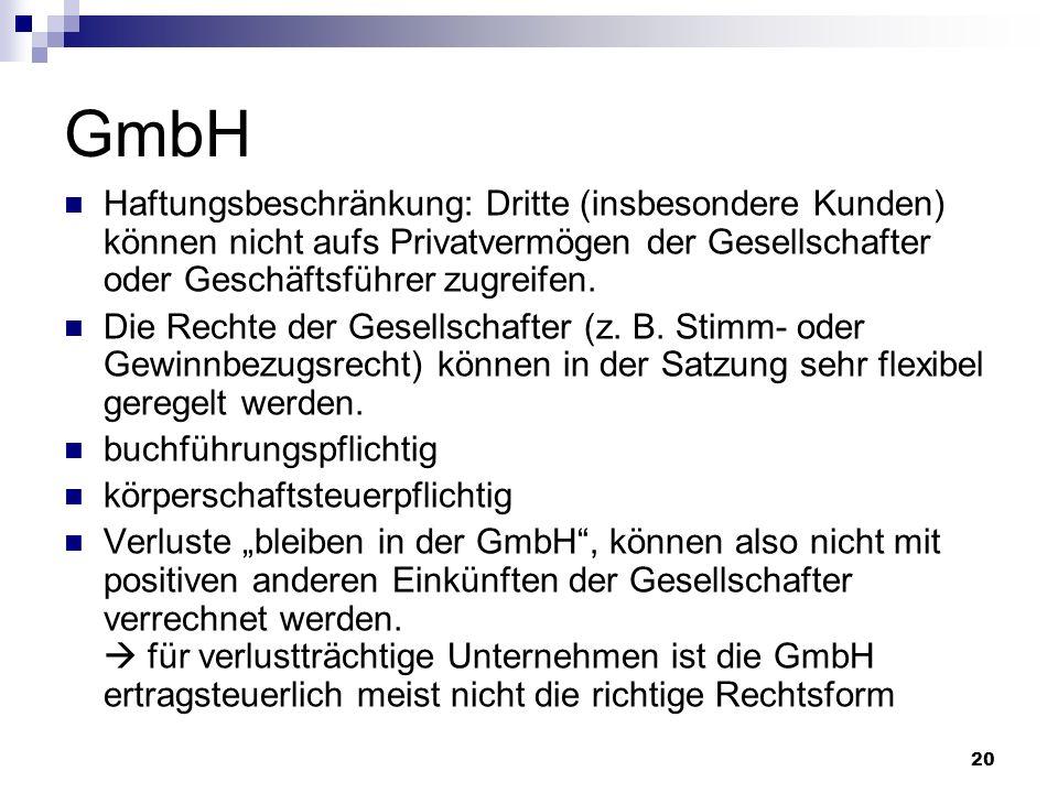GmbH Haftungsbeschränkung: Dritte (insbesondere Kunden) können nicht aufs Privatvermögen der Gesellschafter oder Geschäftsführer zugreifen.