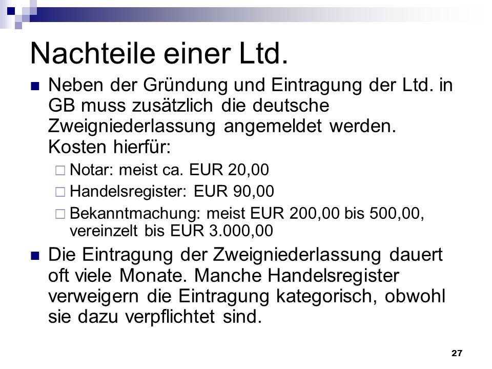 Nachteile einer Ltd.
