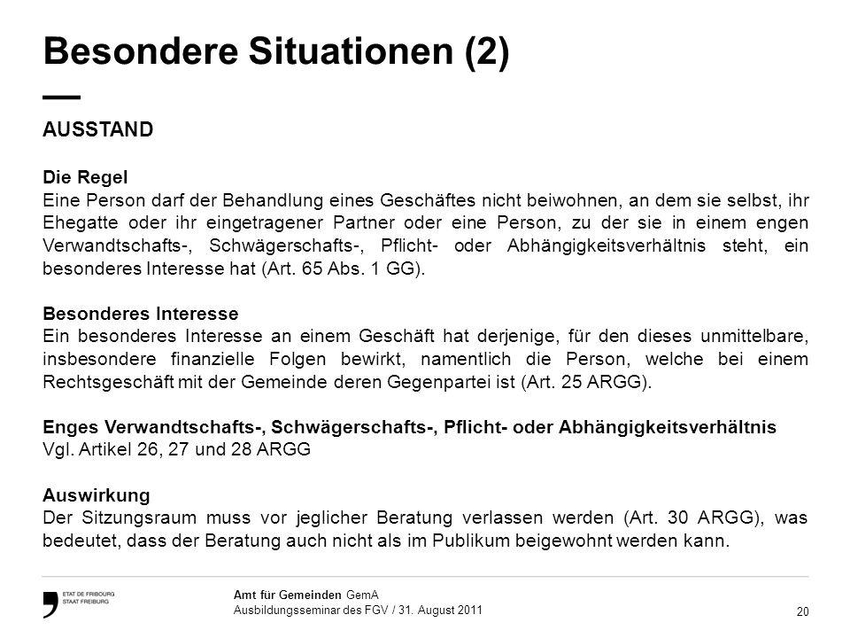 Besondere Situationen (2) —