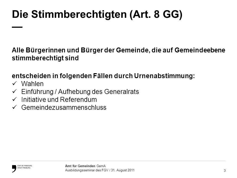 Die Stimmberechtigten (Art. 8 GG) —