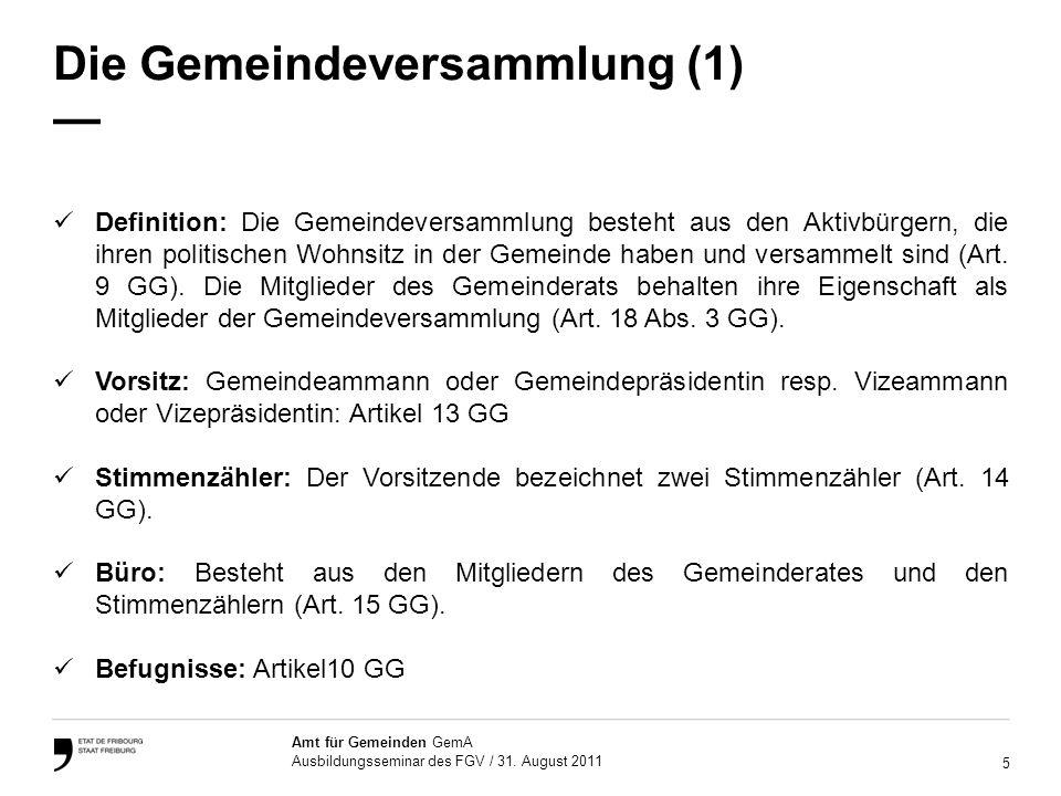 Die Gemeindeversammlung (1) —