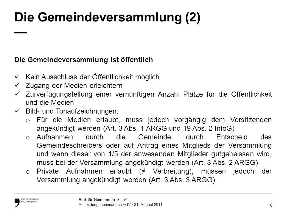 Die Gemeindeversammlung (2) —