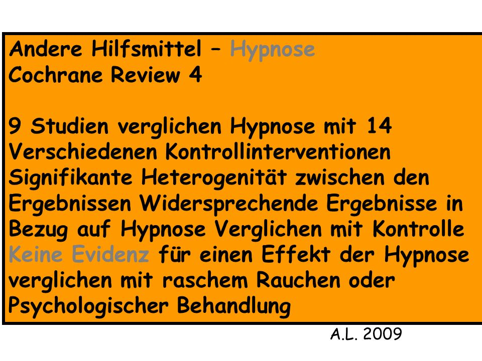 Andere Hilfsmittel – Hypnose Cochrane Review 4