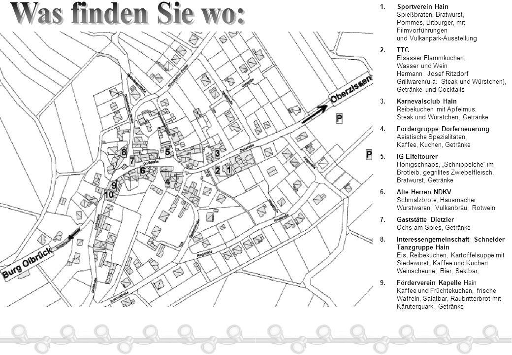 Was finden Sie wo: Sportverein Hain Spießbraten, Bratwurst, Pommes, Bitburger, mit Filmvorführungen und Vulkanpark-Ausstellung.