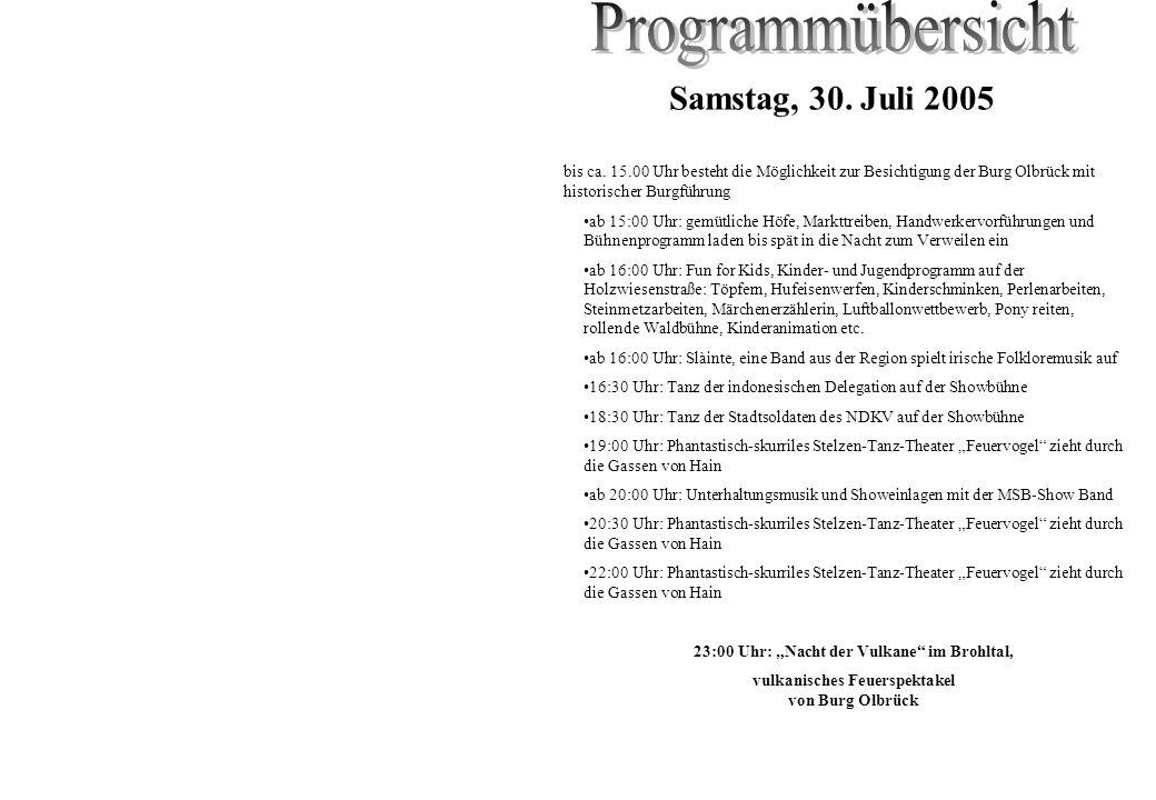 Programmübersicht Samstag, 30. Juli 2005