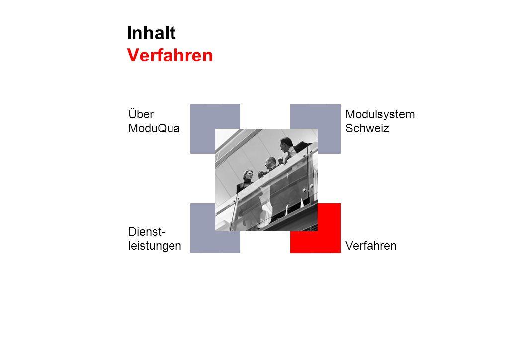 Inhalt Verfahren Über ModuQua Modulsystem Schweiz Dienst- leistungen