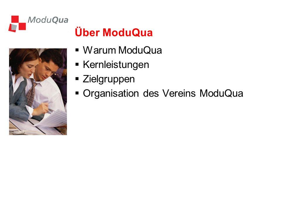 Über ModuQua Warum ModuQua Kernleistungen Zielgruppen