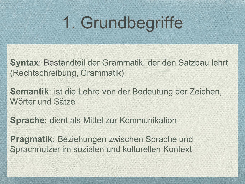 1. Grundbegriffe Syntax: Bestandteil der Grammatik, der den Satzbau lehrt (Rechtschreibung, Grammatik)
