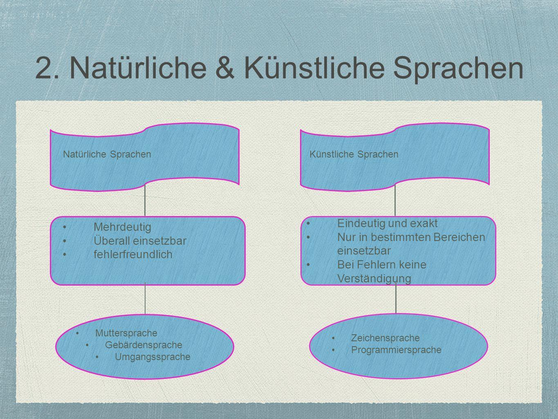 2. Natürliche & Künstliche Sprachen
