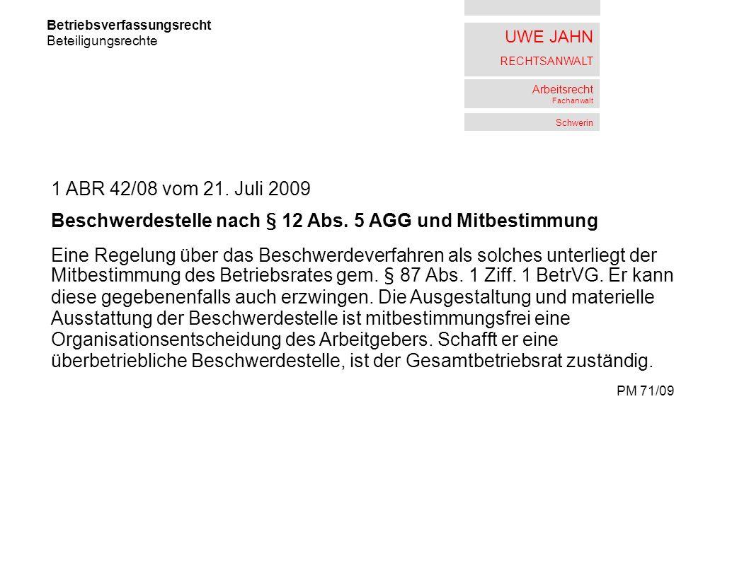 Beschwerdestelle nach § 12 Abs. 5 AGG und Mitbestimmung