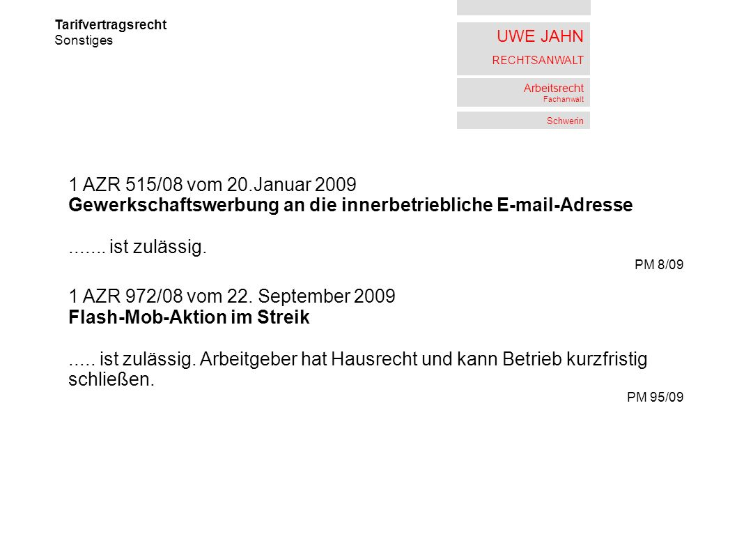 Gewerkschaftswerbung an die innerbetriebliche E-mail-Adresse