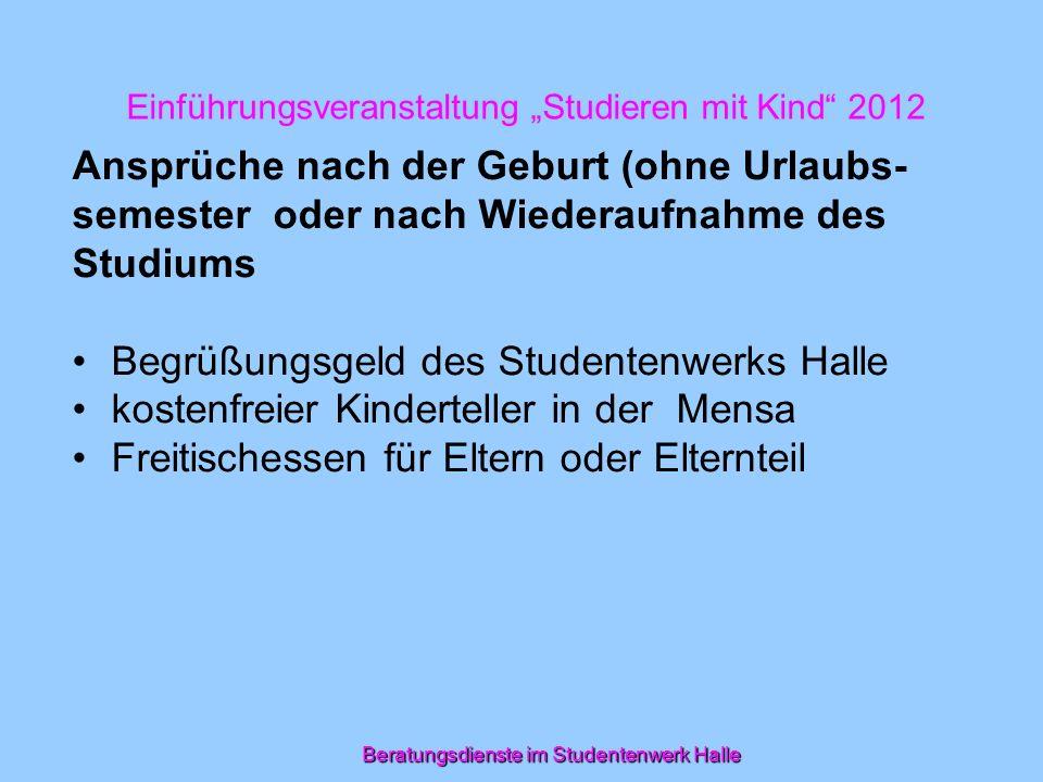 """Einführungsveranstaltung """"Studieren mit Kind 2012"""