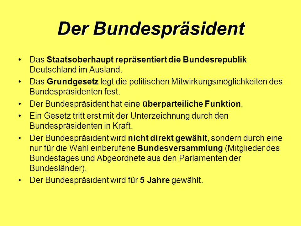 Der Bundespräsident Das Staatsoberhaupt repräsentiert die Bundesrepublik Deutschland im Ausland.