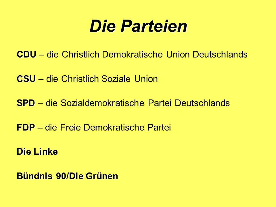 Die Parteien CDU – die Christlich Demokratische Union Deutschlands