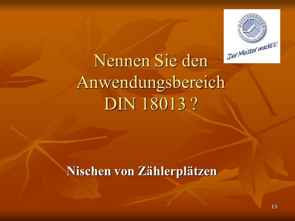Nennen Sie den Anwendungsbereich DIN 18013