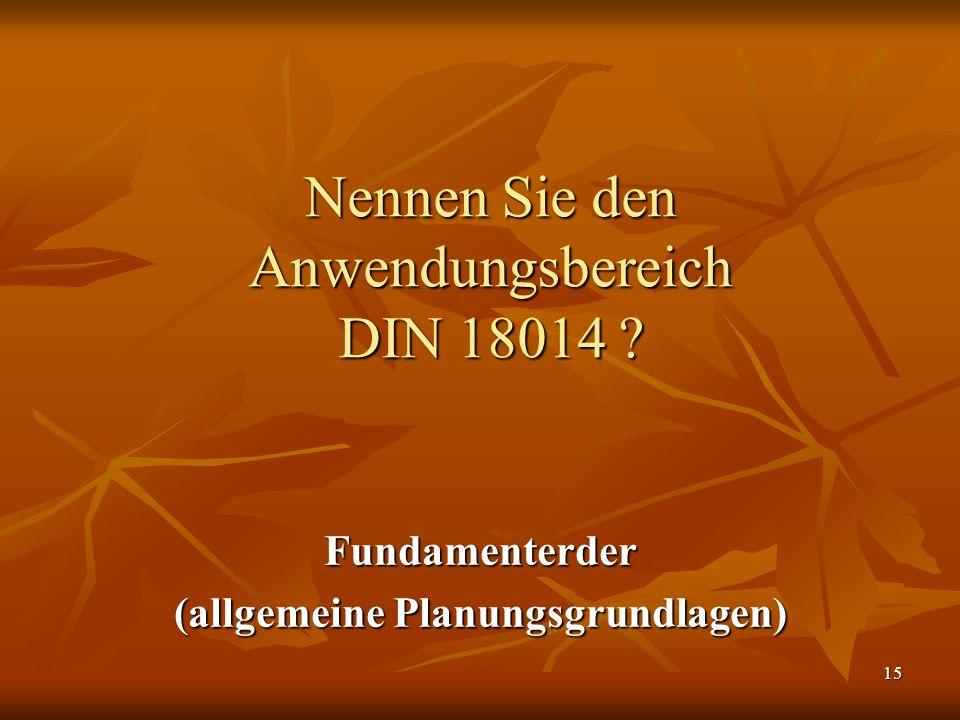 Nennen Sie den Anwendungsbereich DIN 18014