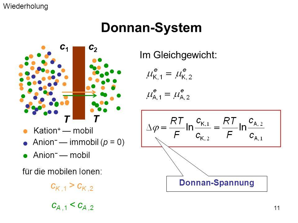 Donnan-System c1 c2 Im Gleichgewicht: T cK ,1 > cK ,2