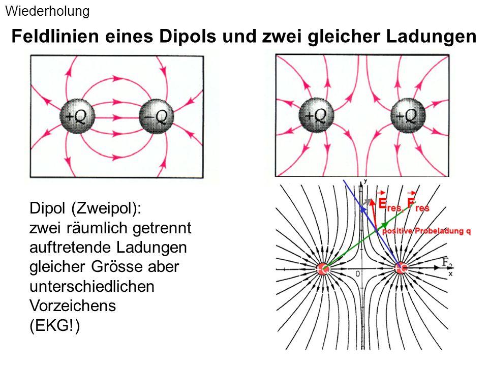 Feldlinien eines Dipols und zwei gleicher Ladungen