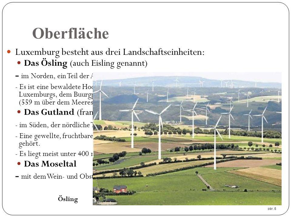 Oberfläche Luxemburg besteht aus drei Landschaftseinheiten: