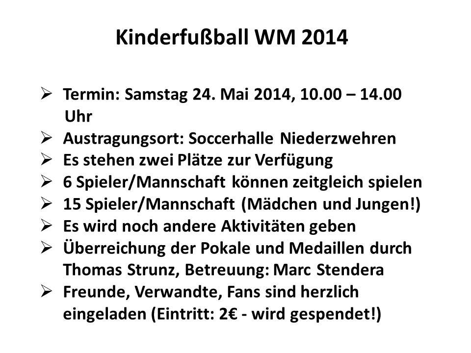 Kinderfußball WM 2014 Termin: Samstag 24. Mai 2014, 10.00 – 14.00 Uhr