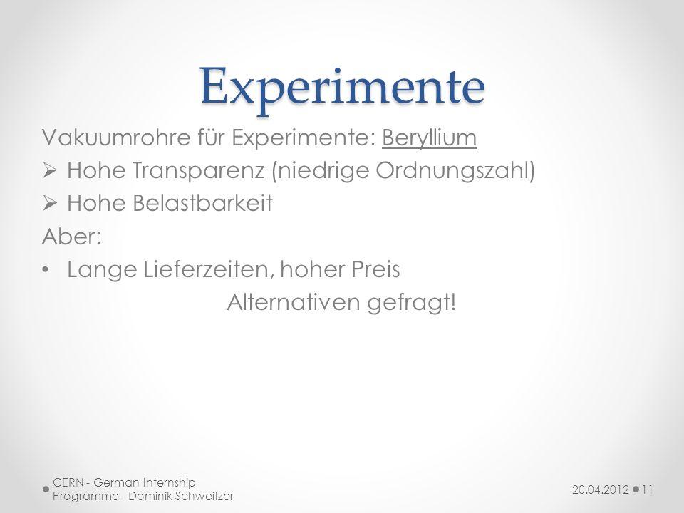 Experimente Vakuumrohre für Experimente: Beryllium