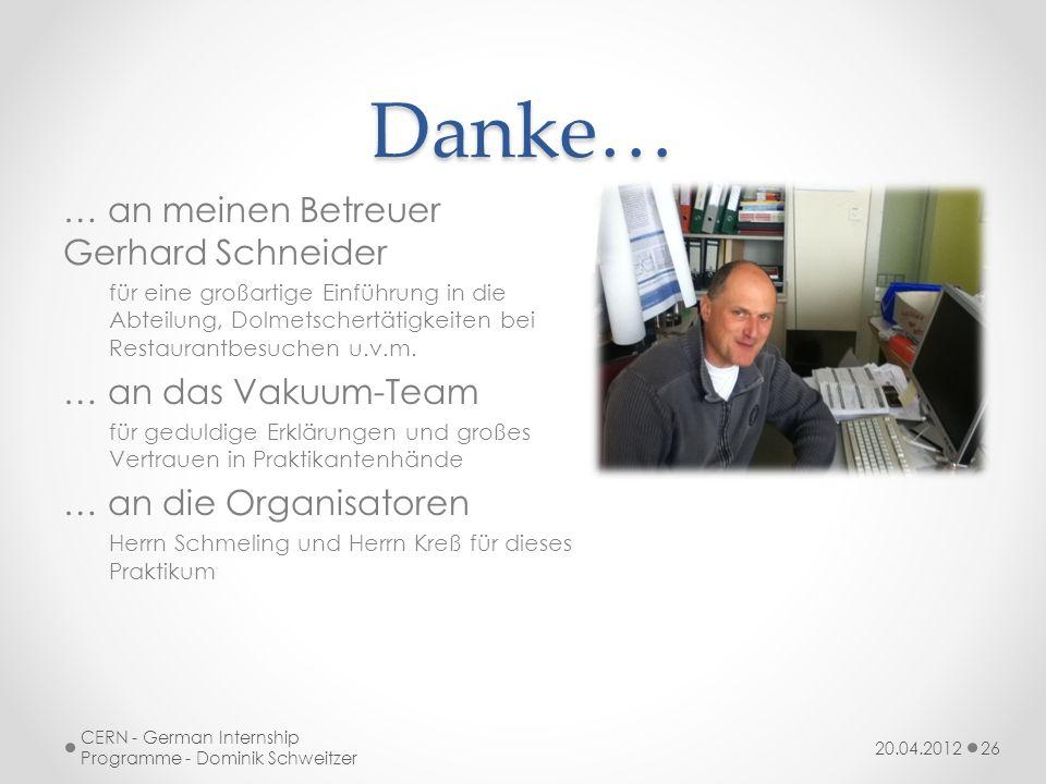 Danke… … an meinen Betreuer Gerhard Schneider … an das Vakuum-Team