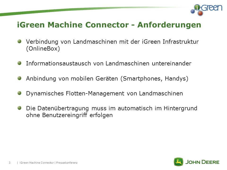 iGreen Machine Connector - Anforderungen