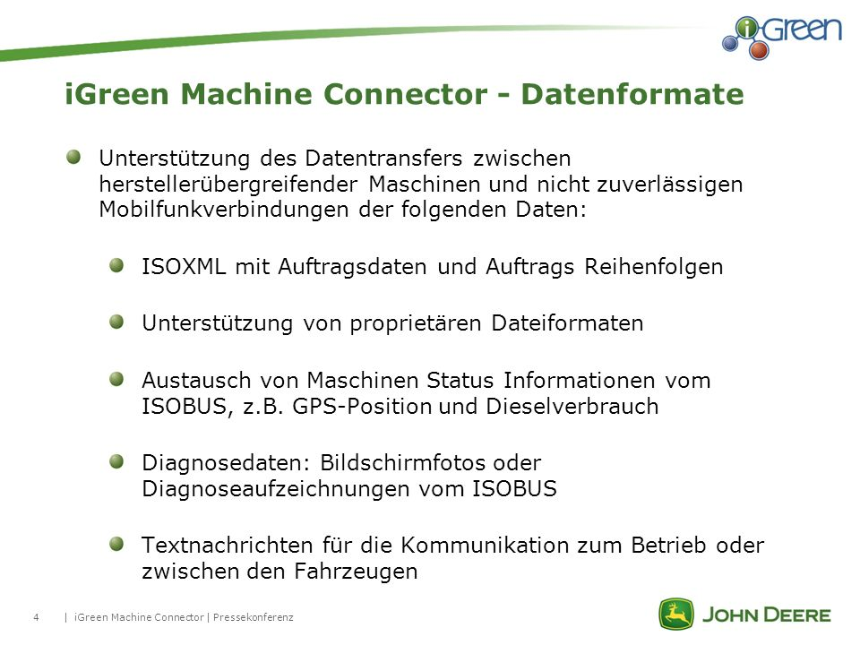 iGreen Machine Connector - Datenformate
