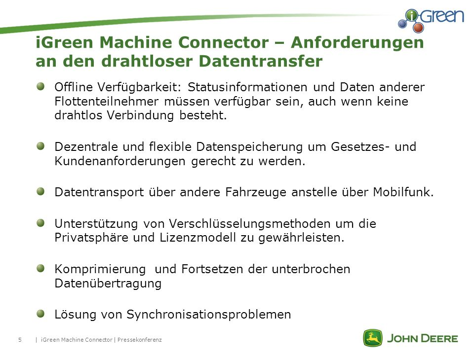 iGreen Machine Connector – Anforderungen an den drahtloser Datentransfer