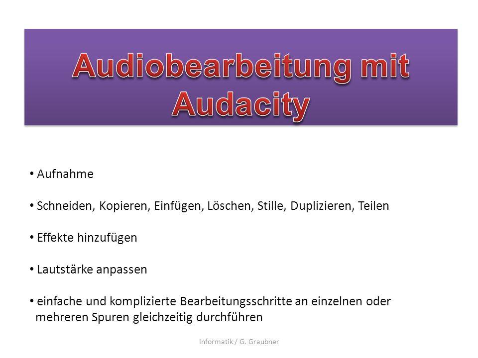 Audiobearbeitung mit Audacity