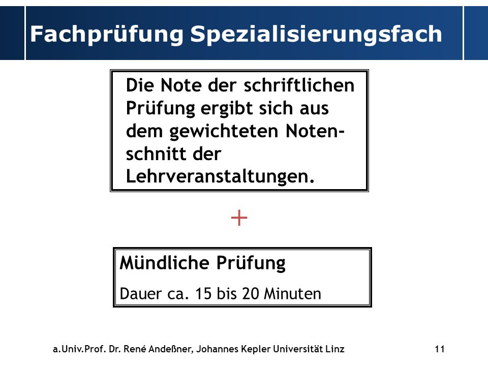 Fachprüfung Spezialisierungsfach