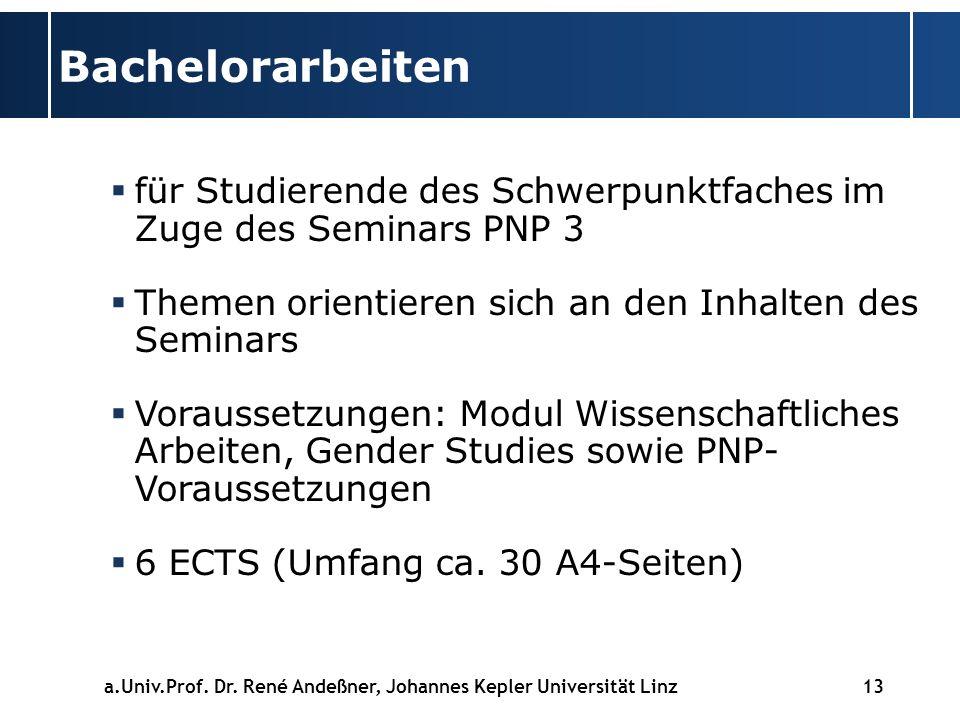 Bachelorarbeiten für Studierende des Schwerpunktfaches im Zuge des Seminars PNP 3. Themen orientieren sich an den Inhalten des Seminars.
