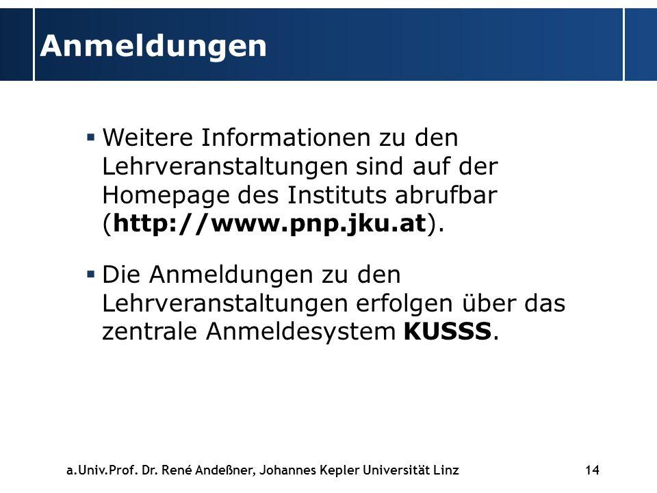Anmeldungen Weitere Informationen zu den Lehrveranstaltungen sind auf der Homepage des Instituts abrufbar (http://www.pnp.jku.at).