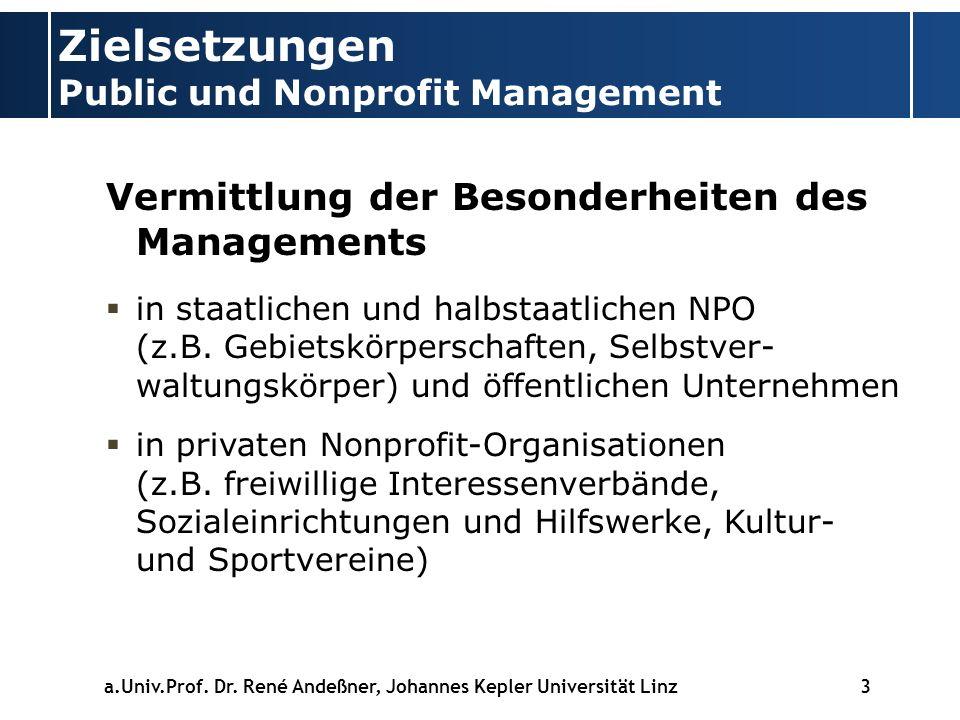 Zielsetzungen Public und Nonprofit Management