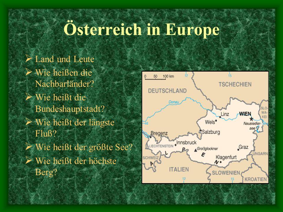 Österreich in Europe Land und Leute Wie heißen die Nachbarländer