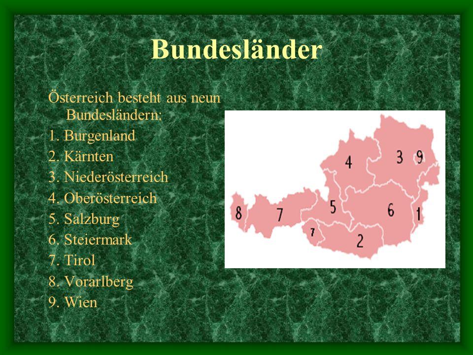 Bundesländer Österreich besteht aus neun Bundesländern: 1. Burgenland