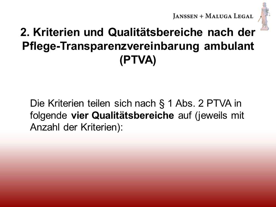 2. Kriterien und Qualitätsbereiche nach der Pflege-Transparenzvereinbarung ambulant (PTVA)